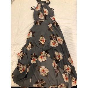 Halter neck floral high low dress